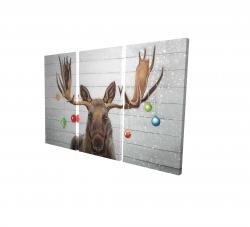 Canvas 24 x 36 - 3D - Moose has christmas balls