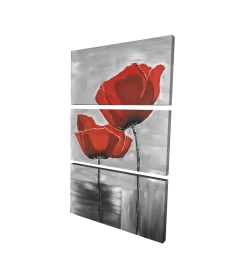 Canvas 24 x 36 - 3D - Two red flowers on a grayscale background