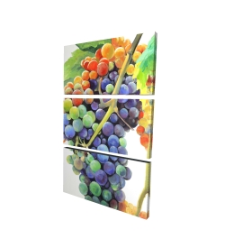 Canvas 24 x 36 - 3D - Colorful bunch of grapes