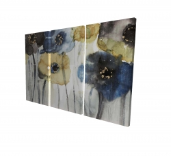 Canvas 24 x 36 - 3D - Gray blue and yellow flowers