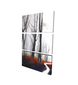 Canvas 24 x 36 - 3D - Mysterious forest with stream