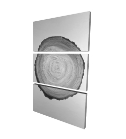 Canvas 24 x 36 - 3D - Grayscale round wood log