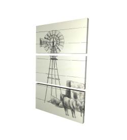 Canvas 24 x 36 - 3D - Vintage old texas windmill