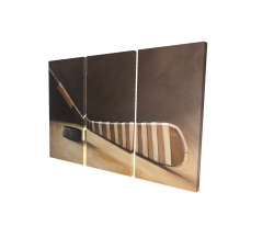 Canvas 24 x 36 - 3D - Stick and hockey puck