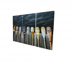 Canvas 24 x 36 - 3D - Colorful paddles on the dock