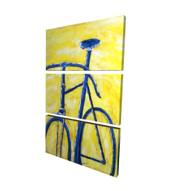 Canvas 24 x 36 - 3D - Blue bike on yellow background