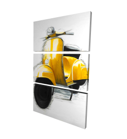 Canvas 24 x 36 - 3D - Yellow italian scooter