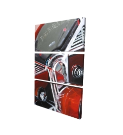Canvas 24 x 36 - 3D - Vintage red car dashboard