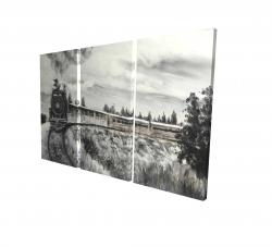 Canvas 24 x 36 - 3D - Steam engine train