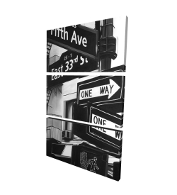 Canvas 24 x 36 - 3D - New york city signs in front of an appartment