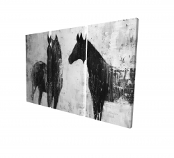 Canvas 24 x 36 - 3D - Black and white horses