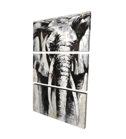 Canvas 24 x 36 - 3D - Grayscale elephant
