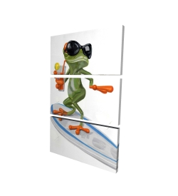 Canvas 24 x 36 - 3D - Funny frog surfing