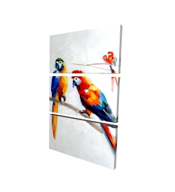 Canvas 40 x 60 - 3D - Parrots on a branch