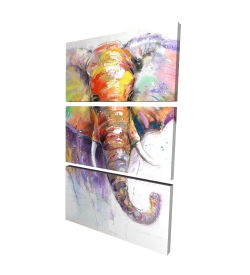 Canvas 24 x 36 - 3D - Beautiful and colorful elephant