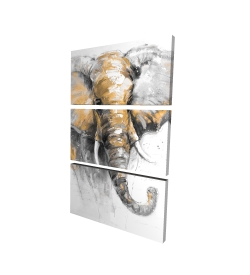 Canvas 24 x 36 - 3D - Beautiful golden elephant