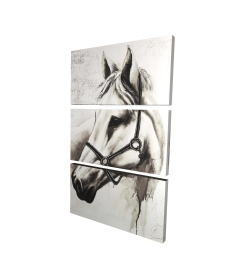 Canvas 24 x 36 - 3D - Flicka the white horse