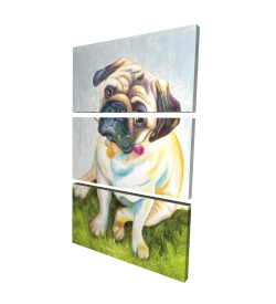Canvas 24 x 36 - 3D - Cute pug with a rose in his mouth