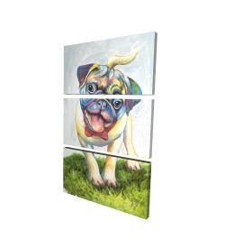 Canvas 24 x 36 - 3D - Colorful smiling pug
