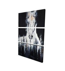 Canvas 24 x 36 - 3D - Abstract white horse on black background