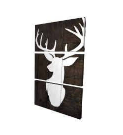 Canvas 24 x 36 - 3D - Silhouette of a deer on wood