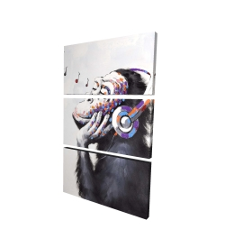 Canvas 24 x 36 - 3D - Monkey listening music