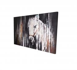 Canvas 24 x 36 - 3D - White horse in the dark