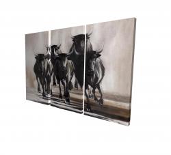 Canvas 24 x 36 - 3D - Group of running bulls