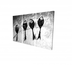 Canvas 24 x 36 - 3D - Four birds perched