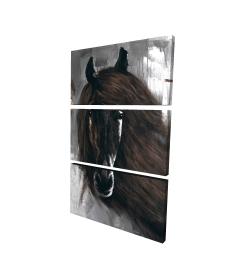 Canvas 24 x 36 - 3D - Dark brown horse