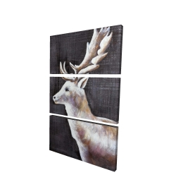 Canvas 24 x 36 - 3D - Deer profile view in the dark