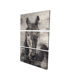 Canvas 24 x 36 - 3D - Abstract horse with typography