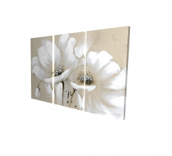 Canvas 24 x 36 - 3D - White abstract wild flowers