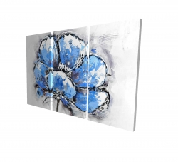 Canvas 24 x 36 - 3D - Abstract blue petals