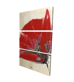 Canvas 24 x 36 - 3D - Three red flowers