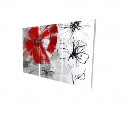 Canvas 24 x 36 - 3D - Red & gray flowers