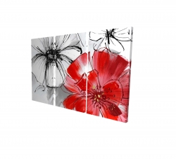 Canvas 24 x 36 - 3D - Red & white flowers sketch