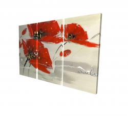 Canvas 24 x 36 - 3D - Abstract red flowers in the wind