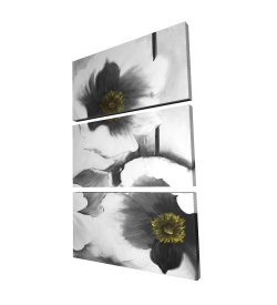 Canvas 24 x 36 - 3D - Black and white flowers