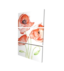 Canvas 24 x 36 - 3D - Watercolor poppies