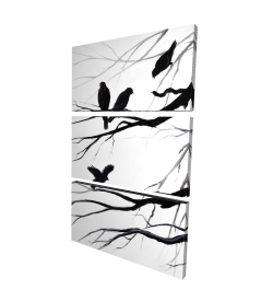 Canvas 24 x 36 - 3D - Silhouette of birds