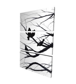 Canvas 24 x 36 - 3D - Birds and branches silhouette