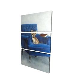 Canvas 24 x 36 - 3D - Chihuahua on a blue armchair