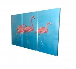 Canvas 24 x 36 - 3D - Four flamingos
