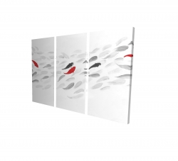 Canvas 24 x 36 - 3D - Swimming fish wave