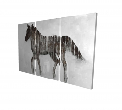Canvas 24 x 36 - 3D - Gambading abstract horse
