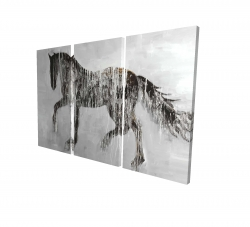 Canvas 24 x 36 - 3D - Horse brown silhouette