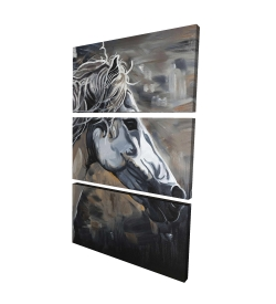 Canvas 40 x 60 - 3D - Side of a wild horse