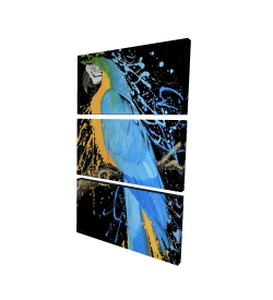 Canvas 24 x 36 - 3D - Blue macaw parrot