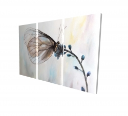 Canvas 24 x 36 - 3D - Butterfly on blue flowers
